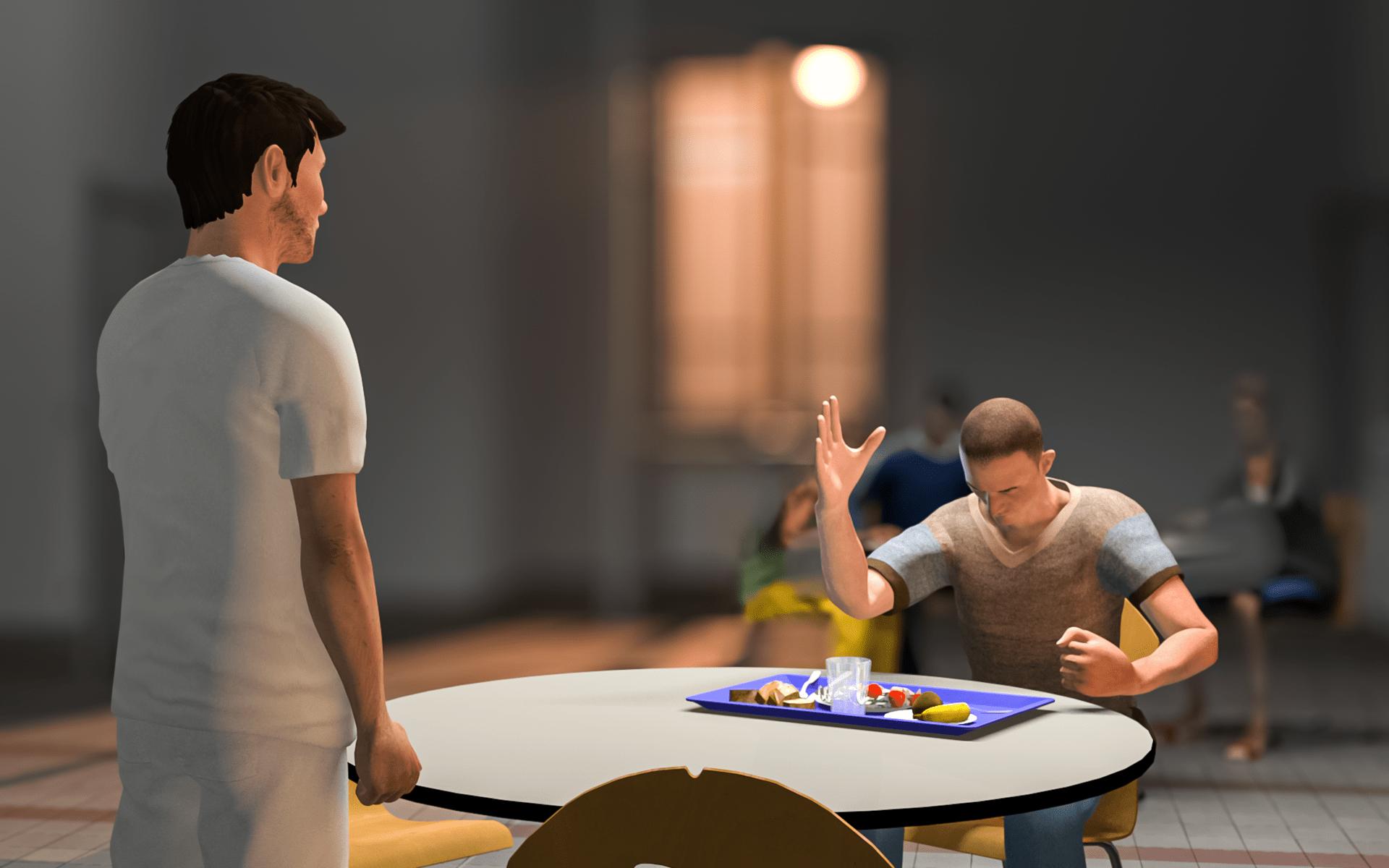 Personnage 3D dans leurs environnement en action